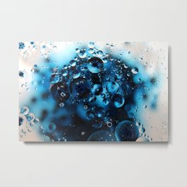 Blue Oil and Water Photography Metal Print