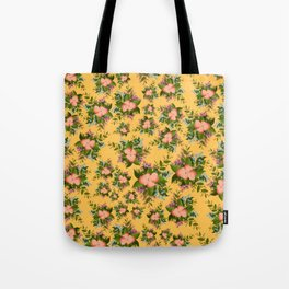 Watercolor Flowers on Yellow Background Tote Bag