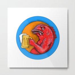 Leopard Coral Grouper Beer Mandala Metal Print