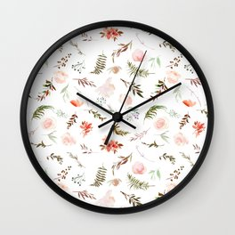 Coral pink green watercolor hand painted floral Wall Clock