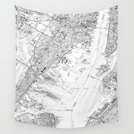 Vintage Map of Jersey City NJ (1967) BW Wall Tapestry