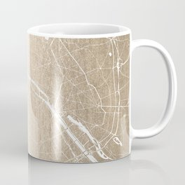 Paris France Minimal Street Map - Gold on White Coffee Mug