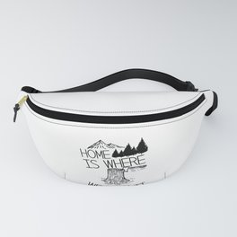 Camping Home is Where We Park It Mountains Trees Wildlife Fanny Pack