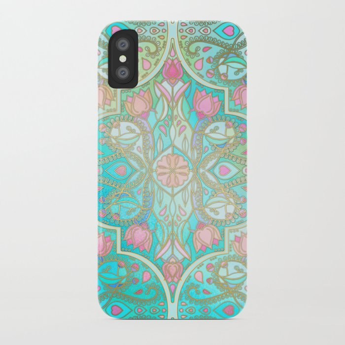 Floral Moroccan in Spring Pastels - Aqua, Pink, Mint & Peach iPhone Case