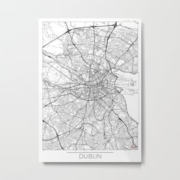 Dublin Map White Metal Print