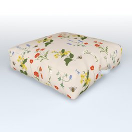 Scandinavian Floral - Cream Outdoor Floor Cushion