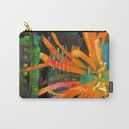 Electric Floral Burst in Tangerine Carry-All Pouch