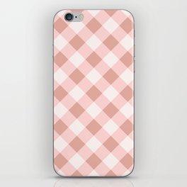 Diagonal buffalo check pale pink iPhone Skin