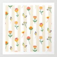 Paper Cut Flowers Art Print