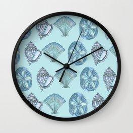 Watercolor Seashells Aqua Background  Wall Clock