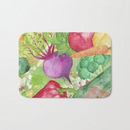 Mixed Vegetables Watercolor Bath Mat