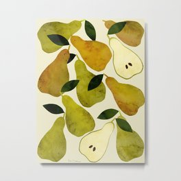 mediterranean pears watercolor Metal Print