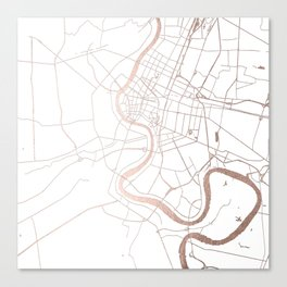 Bangkok Thailand Minimal Street Map - Rose Gold Pink and White Canvas Print