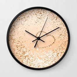 Sparkling ORANGE Lady Glitter Heart #1 (Faux Glitter) #decor #art #society6 Wall Clock