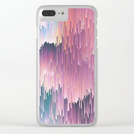 Rainbow Glitches Clear iPhone Case