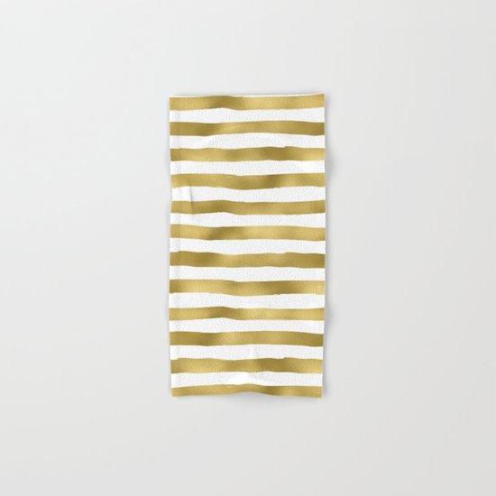 Gold stripes on clear white - horizontal pattern Hand & Bath Towel