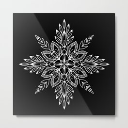 Leafy Folk Art Mandala Black Metal Print