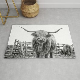 Highland Cow in a Fence Black and White Rug