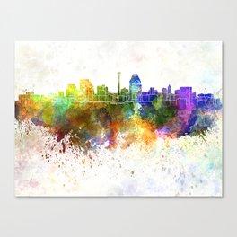 San Antonio skyline in watercolor background Canvas Print