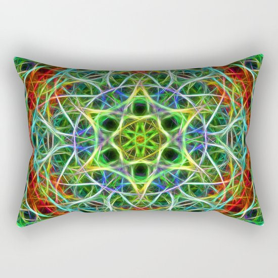 Feathered texture mandala in green and brown Rectangular Pillow