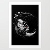 rockabilly Art Prints featuring Rockabilly moon by Kabay