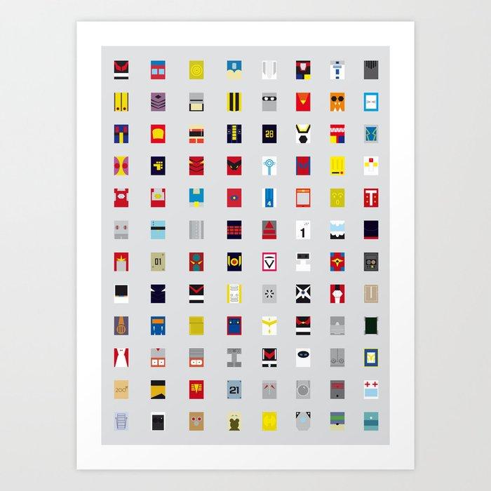 Minimalism robots (Good natured / Defenders) Art Print
