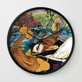 Koi & Egret Wall Clock