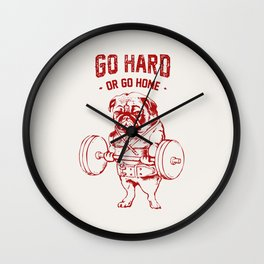 Go Hard Or Go Home Pug In Red Wall Clock