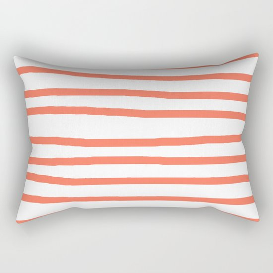 Simply Drawn Stripes in Deep Coral Rectangular Pillow