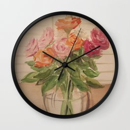Everything is coming up roses Wall Clock