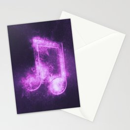 Beamed Eight music note symbol. Abstract night sky background Stationery Cards