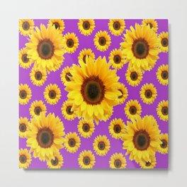 Violet Color Yellow Sunflowers Pattern Art Metal Print