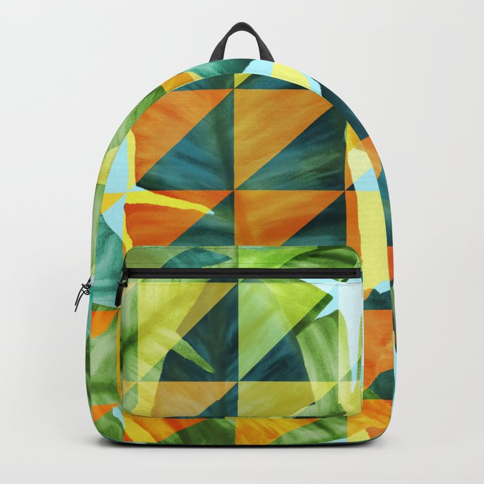Abstract Geometric Tropical Banana Leaves Pattern Backpack