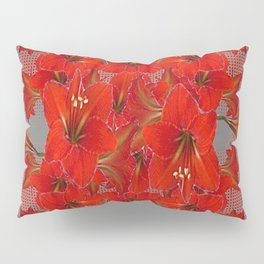 YELLOW COLOR RED AMARYLLIS FLOWER GARDEN  FLOWERS Pillow Sham