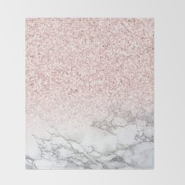Pretty Rosegold Marble Sparkle Throw Blanket