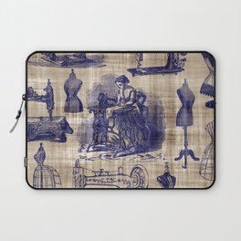 Vintage Sewing Toile Laptop Sleeve