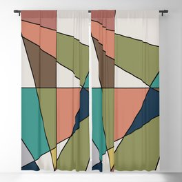 Mid Century Modern Triangle Abstract Blackout Curtain