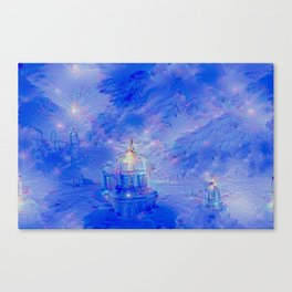 The Teapot Village - Blue Japanese Lighthouse Village Artwork Canvas Print