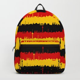 Dresden Germany Skyline Flag Repeating German Flag Fed, Gold and Black Colors Backpack