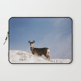 Deer Prancing Among  Snow Covered Hills Colored Wall Art Print Laptop Sleeve