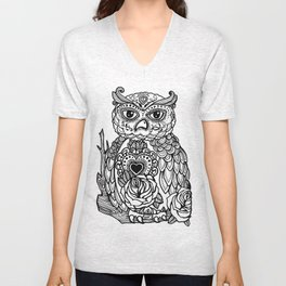 Day of the Dead Owl Unisex V-Neck