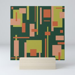 Cityscape Mid-Century Modern Abstract in Coral and Green Mini Art Print