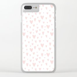 Blush pink white handdrawn watercolor romantic hearts pattern Clear iPhone Case