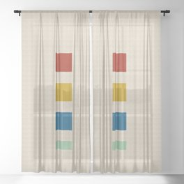four elements || tweed & primary colors Sheer Curtain
