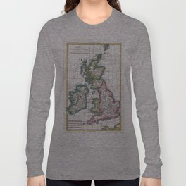 Vintage Map of British Isles (1780) Long Sleeve T-shirt