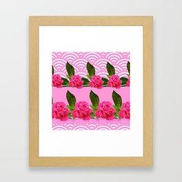 CERISE PINK GARDEN ROSES PATTERN ABSTRACT ART Framed Art Print