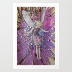 Pink Lady Garden Fairy Art Art Print