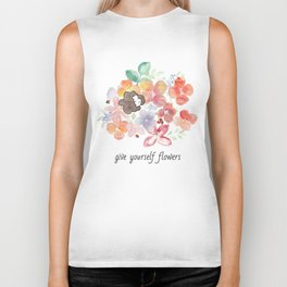 Give yourself flowers Biker Tank