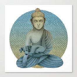 Buddha with dog4 Canvas Print