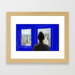 Living in a Blueprint Framed Art Print